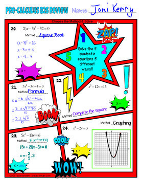 Pre-Calculus Back to School Comic Book Doodle Note Review Bundle