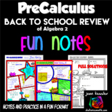 Pre-Calculus Back to School Comic Book Doodle Note Review Bundle