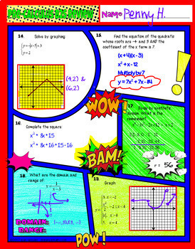 PreCalculus Back to School Comic Book Doodle Note Review