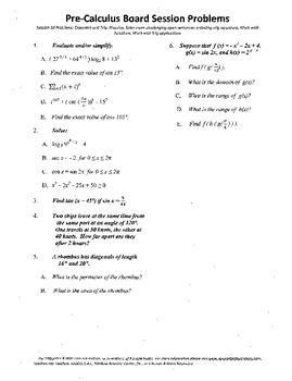 Pre-Calculus Board Session 10,ACT/ SAT Prep,functions,solve adv. open sentences