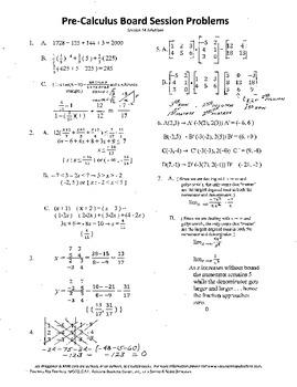 Pre-Calculus Board Session 14,ACT/ SAT Prep,matrices,limits,adv. open sentences