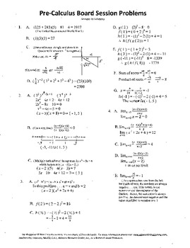 Pre-Calculus Board Session 18,ACT/ SAT Prep,limits,adv. op