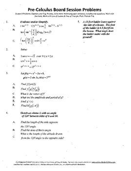 Pre-Calculus Board Session 9,ACT/ SAT Prep,functions,solve adv. open sentences