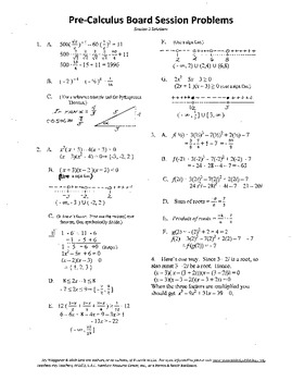 Pre-Calculus Board Session 3,ACT/ SAT Prep,functions,solve