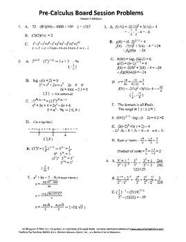 Pre-Calculus Board Session 5,ACT/ SAT Prep,functions,solve adv. open sentences