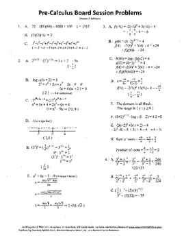 Pre-Calculus Board Session 5,ACT/ SAT Prep,functions,solve