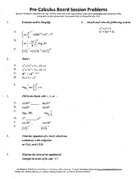 Pre-Calculus Board Session 7,ACT/ SAT Prep,functions,solve