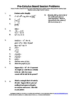 Pre-Calculus Board Session 2,ACT/ SAT Prep,functions,solve