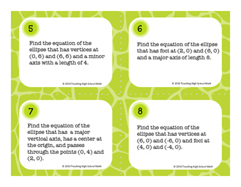 PreCalculus Conic Sections Ellipse Task Cards and Quiz