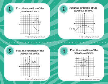 Pre Calculus Conic Sections Parabolas Task Cards and Quiz