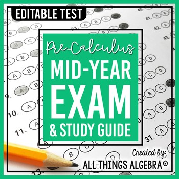 PreCalculus: First Semester Test (Midterm) and Study Guide