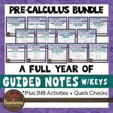 Pre-Calculus Interactive Notebook Activities and Scaffolded Notes Bundle