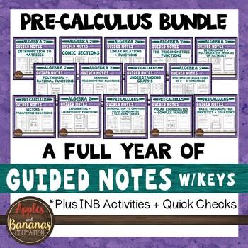 Pre-Calculus Interactive Notebook Activities and Scaffolde