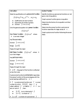 Pre-Calculus Lesson 07 Polynomial Functions