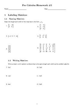 Pre Calculus Matrices Homework