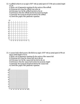 Pre Calculus - Parametric Equations - Homework Pack