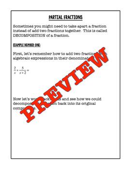 PreCalculus Partial Fraction Decomposition Notes, Homework, Quiz
