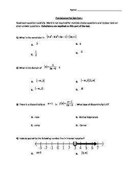 Pre-Calculus Pre-Assessment