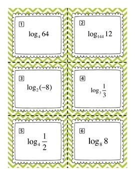 Pre Calculus Simplifying Logarithms Task Card Sort