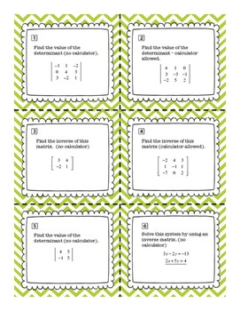 Pre Calculus Solving Systems of Equations with Matrices Notes, Quiz, Task Cards