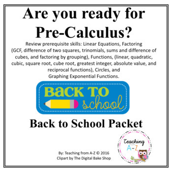 Pre-Calculus Summer or Back to School Readiness Packet