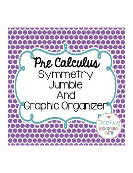 Pre Calculus Symmetry Graphic Organizer and Jumble