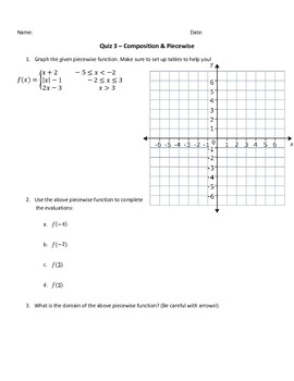 Pre-Calculus Unit 1 Quiz Bundle - Piecewise, Inverse, Composition