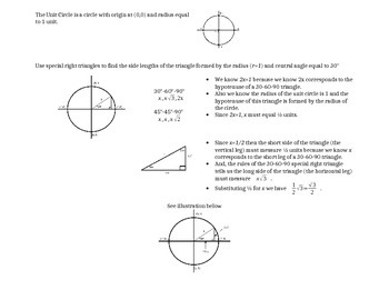 Pre Calculus Unit Circle Activity