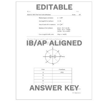 Pre-Calculus Unit Circle & Radians Test