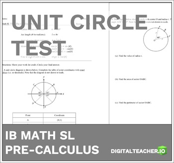 IB Math Pre-Calculus Unit Circle & Radians Test