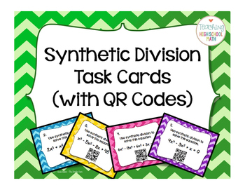 Pre Calculus or Algebra 2 Synthetic Division Task Cards wi