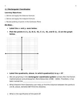 Precalculus Lesson 1.1 Rectangular Coordinates (also for Algebra)