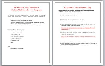 Pre-Chemistry Mixtures Lab