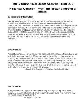 Pre-Civil War Abolitionist John Brown DBQ Document Analysi
