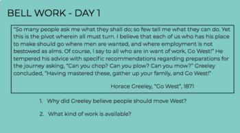 Pre-Civil War Bell Work - Full Week - Worksheet & PowerPoint