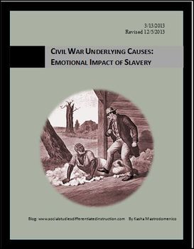 Pre-Civil War Emotional Impact of Slavery Differentiated Instruction Lesson