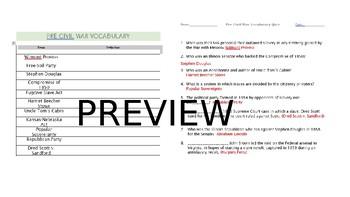 Pre Civil War Visual Vocab Packet