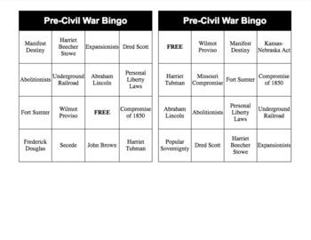 Pre-Civil War Vocabulary Bingo, Call Sheet