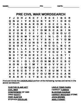 Pre Civil War Wordsearch
