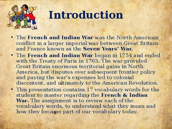 The French & Indian War - Unit Vocabulary Exercise