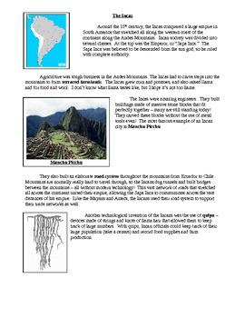 Maya, Aztecs, and Inca Lesson Plan: Article + Chart
