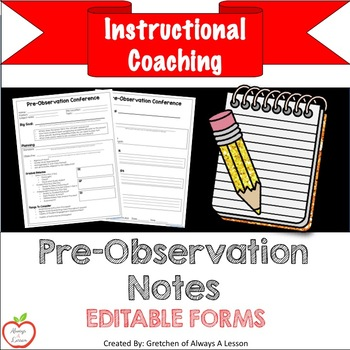 Instructional Coaching: Pre-Observation Notes