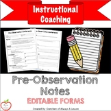 Instructional Coaching: Pre-Observation Notes [EDITABLE]