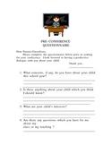 Pre-Conference Parent Questionnaire/Letter