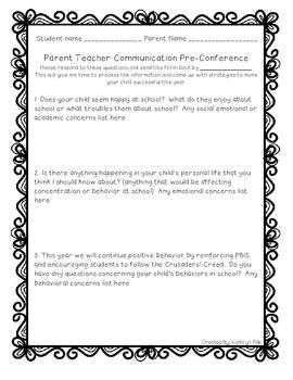Pre-Conference Parent Survey