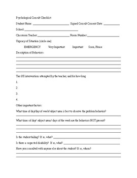 Pre-Consult Information form