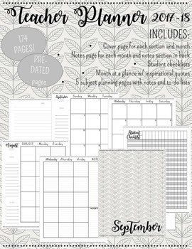 Pre-Dated Teacher Planner 2017-2018 (Gray Simple Minimalist)