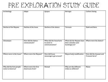 Pre Exploration Study Guide