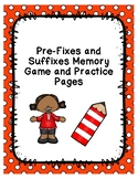 Prefix and Suffix Memory Game and Practice Pages