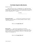 Pre-Grade Report Card to Parents